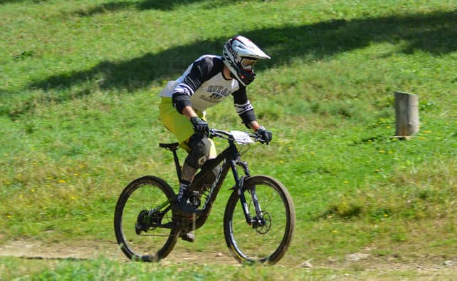 Mountain bikers race downhill at the POC Eastern States Cup held at Killington Resort