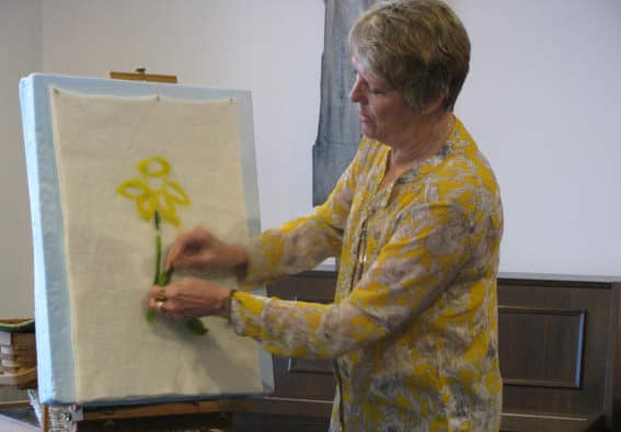 Muffy Kashkin Grollier demonstrates the art of needlefelting