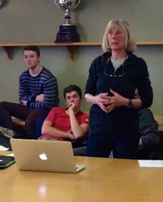 Long-time Nepal volunteer, Denise Coriell, speaks to KMS community