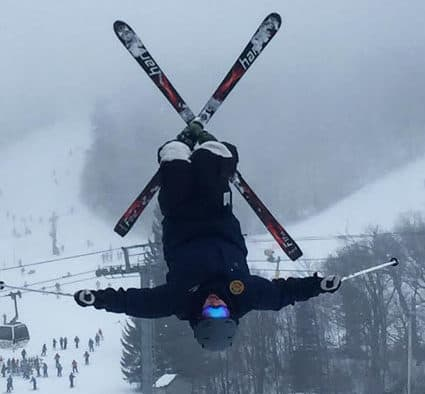 Freestyle athletes catch air on Highline