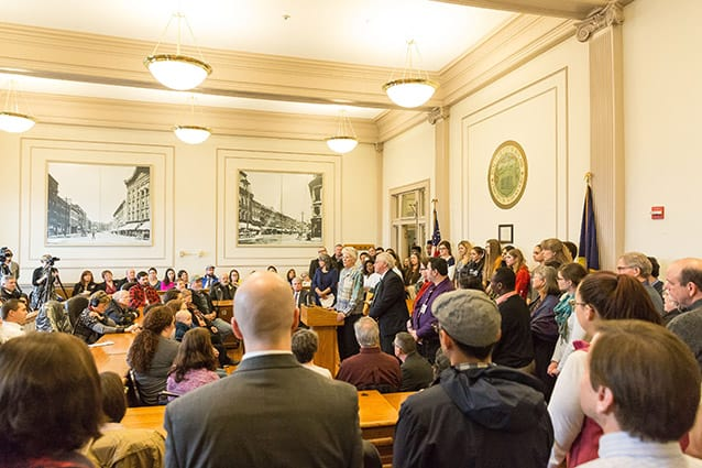 Superintendent of Rutland City Schools Mary Moran speaks at a press conference on Tuesday at City Hall announcing the city's plans to welcome up to 100 Syrian refugees in Rutland