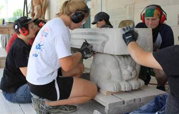 Students near completion of the Stone Bench Project