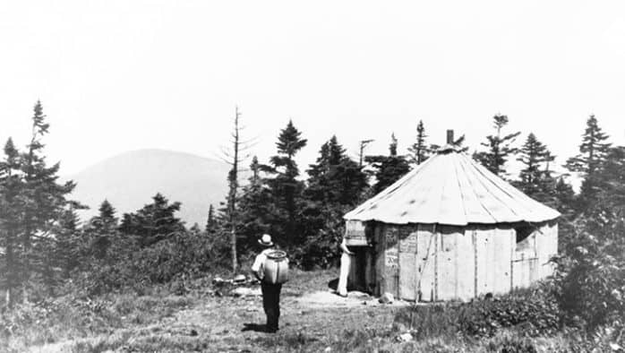 rustic cabins: A metal hut erected about 1915. Pico is in the background.