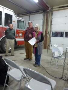 Patty McGrath and Jim Haff present plans for the new public safety building, to be voted on during Town Meeting Day.