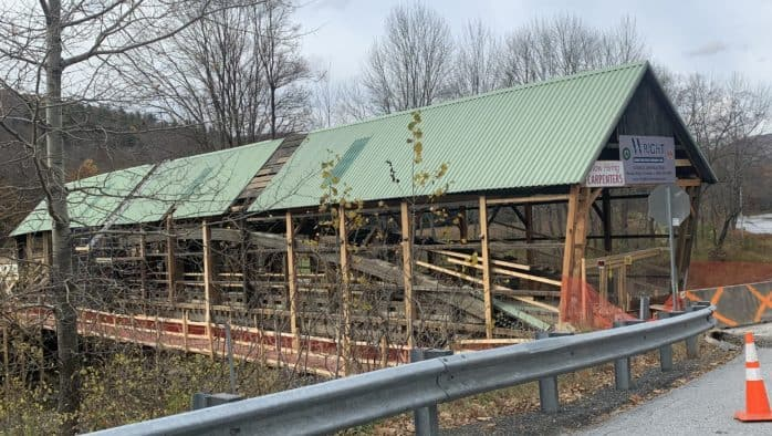 Repairs to historic covered bridge nearly complete