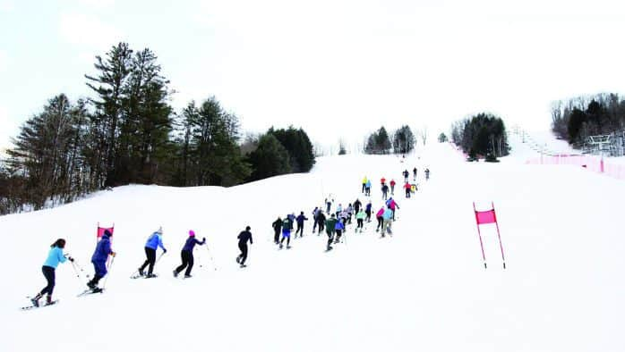Race up the face of Suicide Six on snowshoes