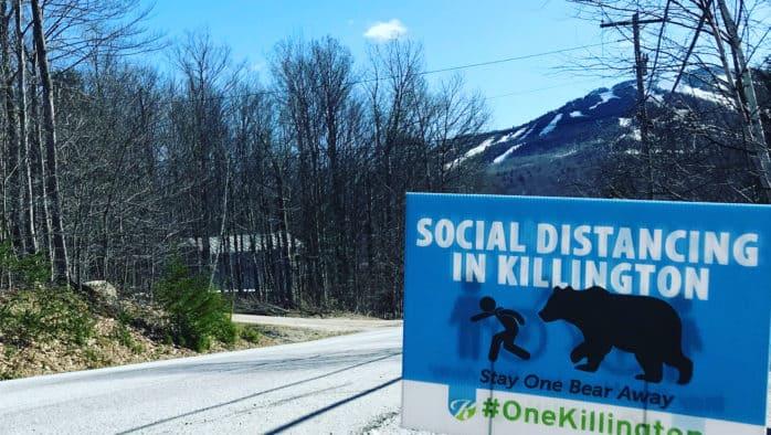 Signs promote social distancing, #onekillington