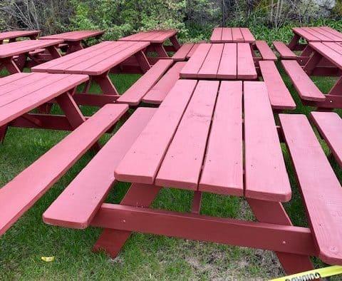 Village Snack Bar's picnic tables stolen