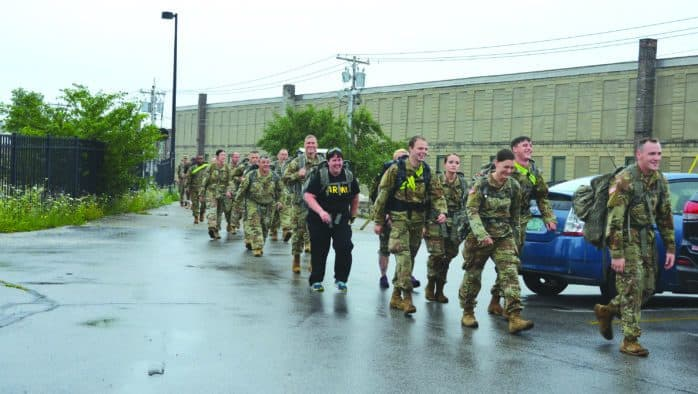 Vermont Army National Guard carries 800 pounds of donated food to BROC during Stuff-a-Ruck event
