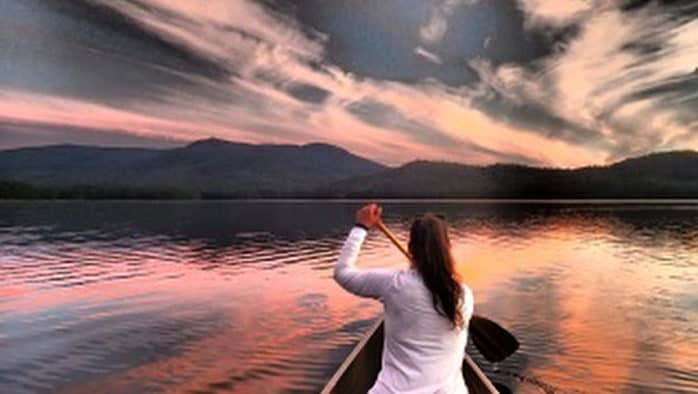 Paddling through the sunset, into the starry sky